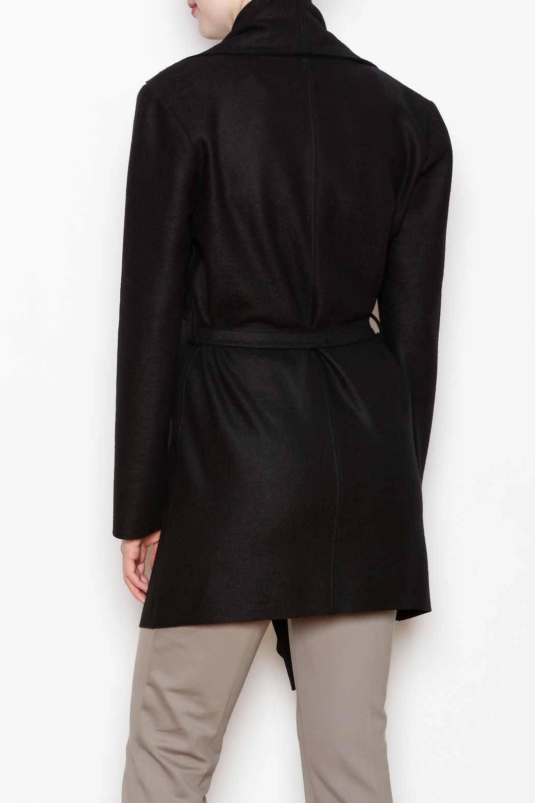 Max Volmary Belted Wrap Jacket - Back Cropped Image