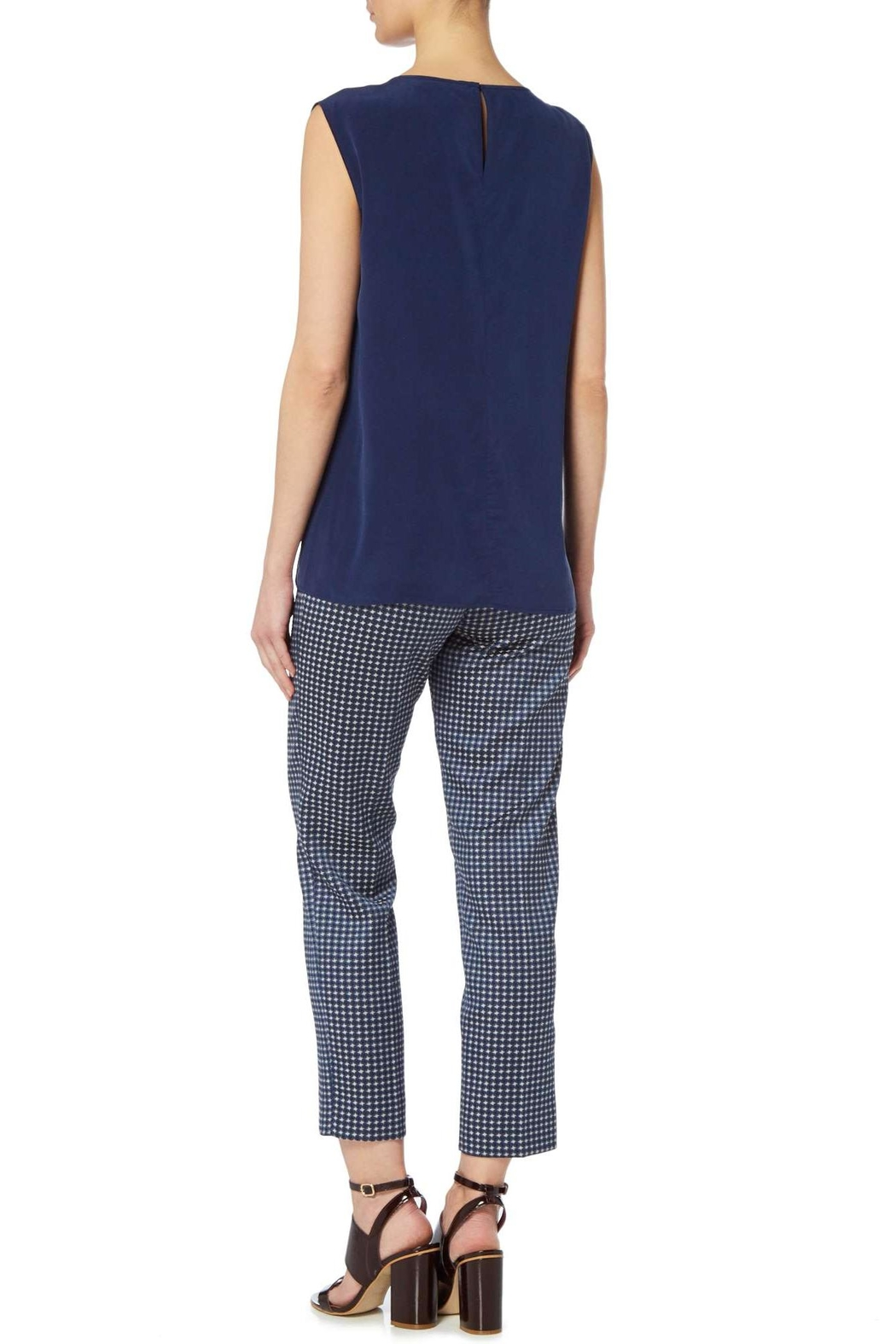 Max Mara Jacquard Navy Trousers - Side Cropped Image