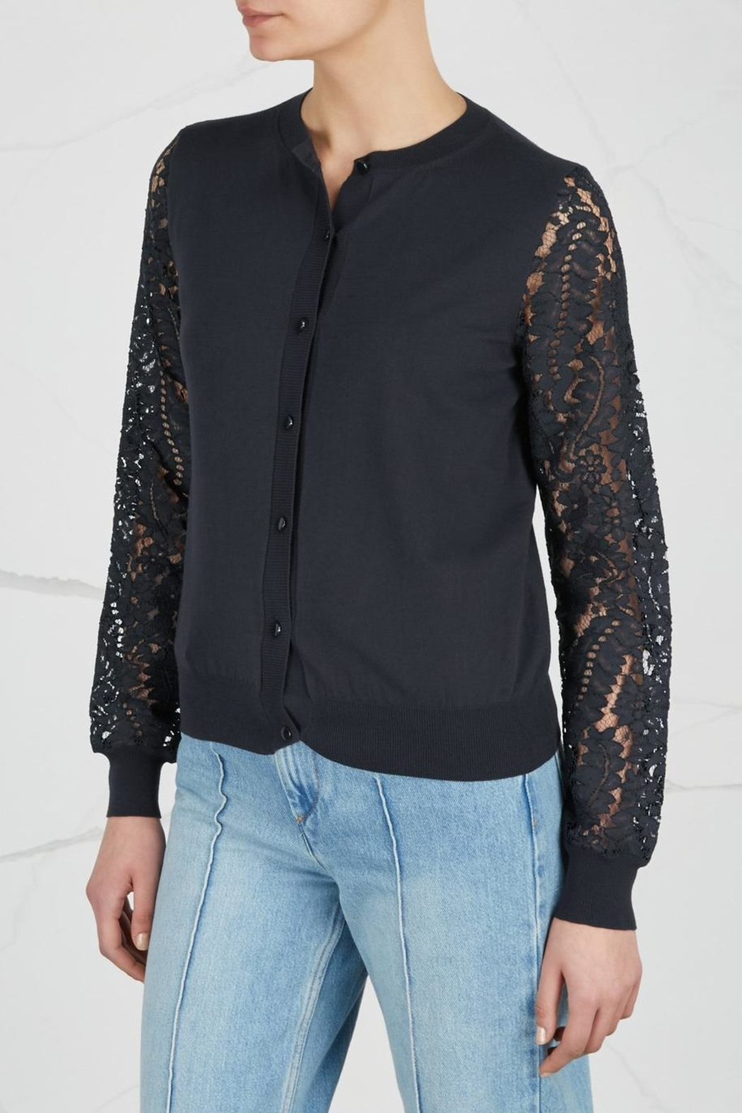 Max Mara Lace- Sleeved Cardigan - Front Full Image