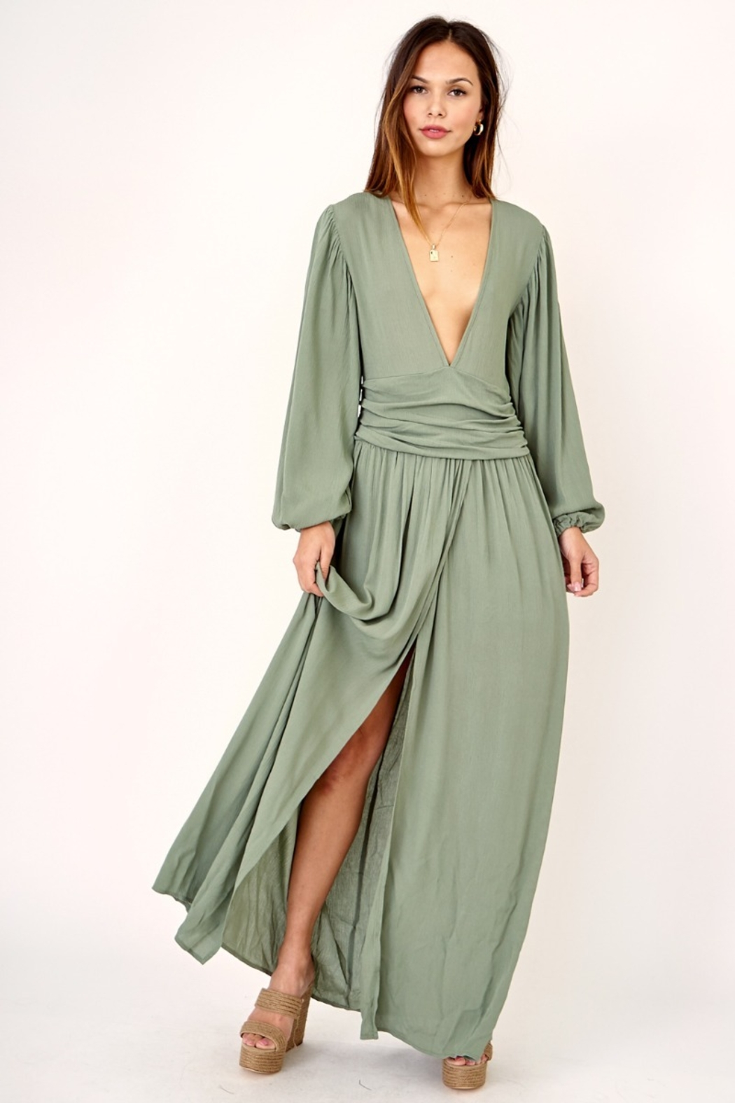 Olivaceous Maxi dress with plunge neck - Main Image