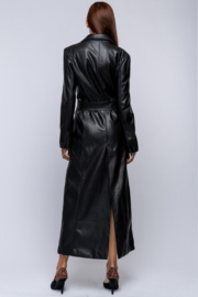 qmp Maxi Faux Leather Coat - Back cropped