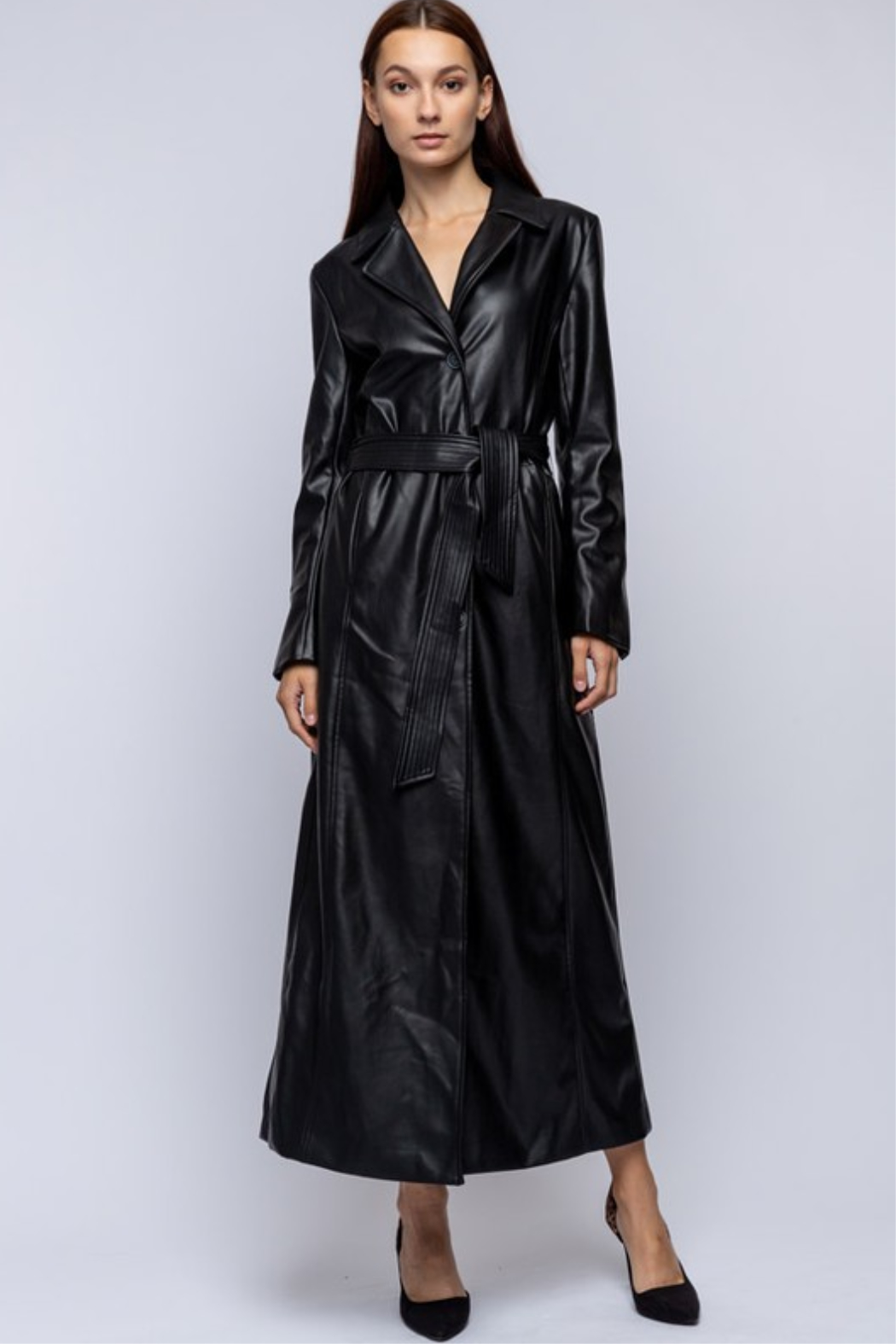 qmp Maxi Faux Leather Coat - Front Full Image