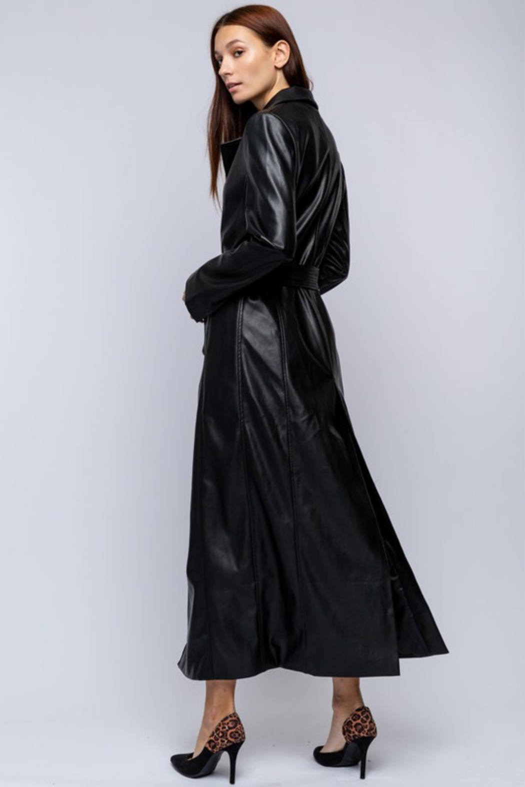 qmp Maxi Faux Leather Coat - Side Cropped Image