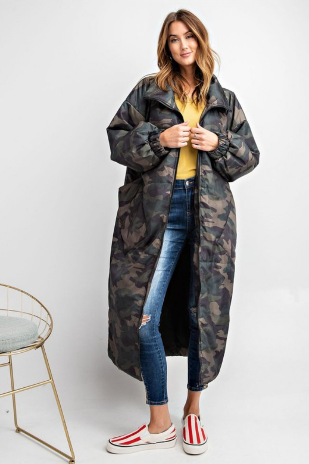 Olivaceous  Maxi Puffer Jacket - Front Cropped Image