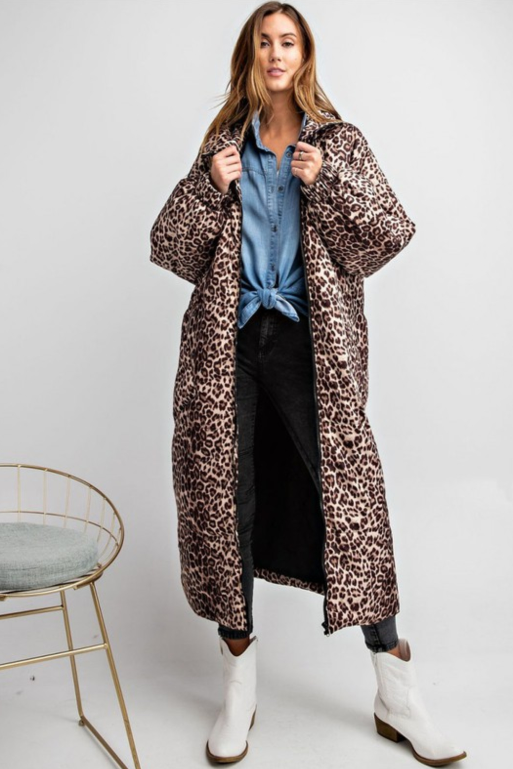 Olivaceous  Maxi Puffer Jacket - Front Full Image