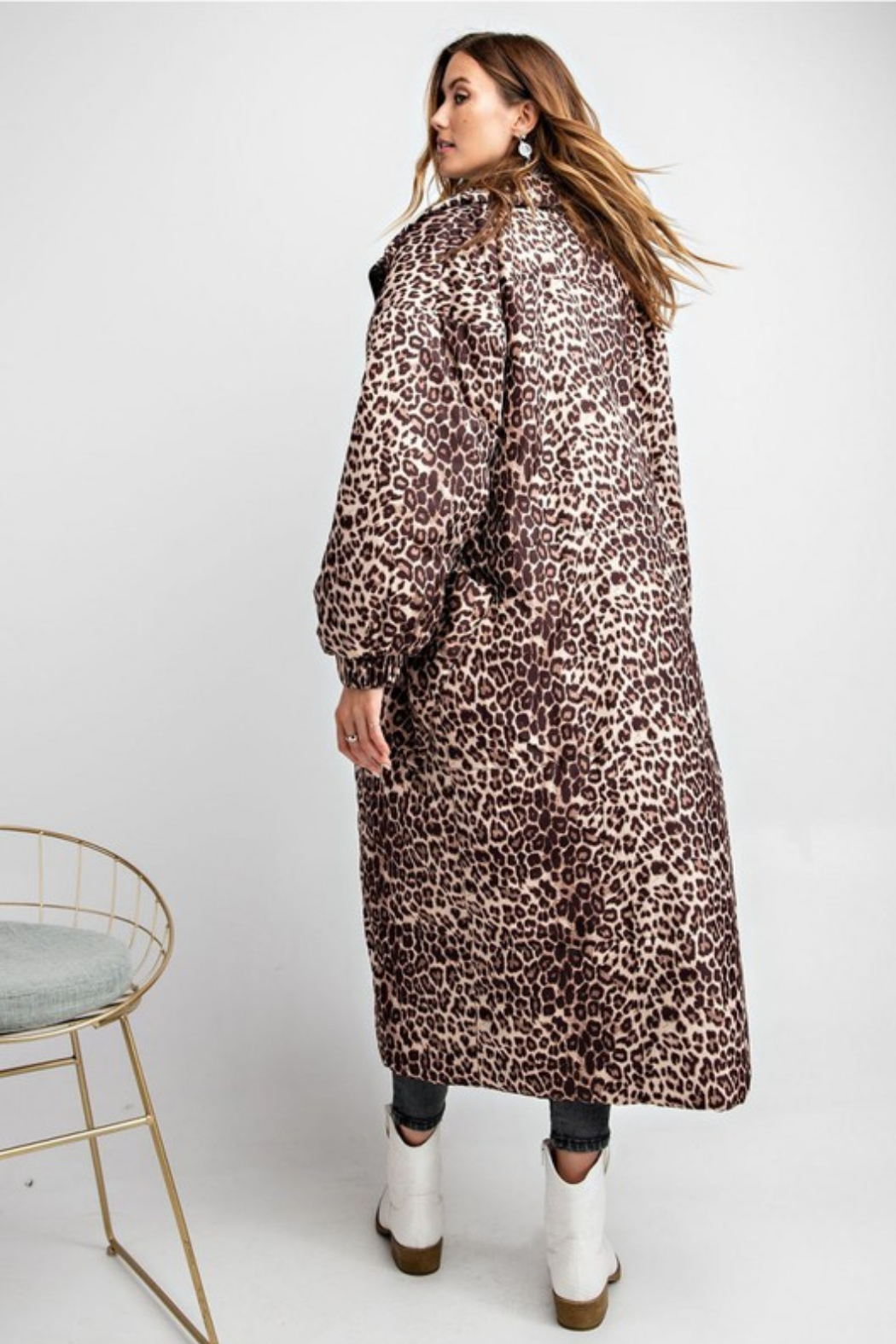 Olivaceous  Maxi Puffer Jacket - Back Cropped Image