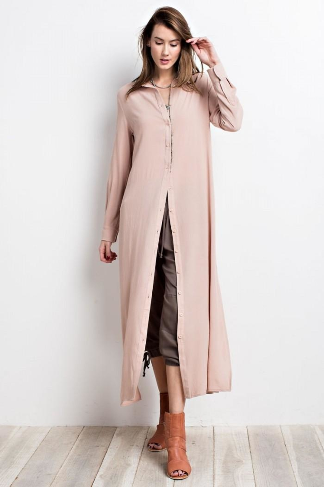 easel Maxi Shirt Dress - Front Cropped Image