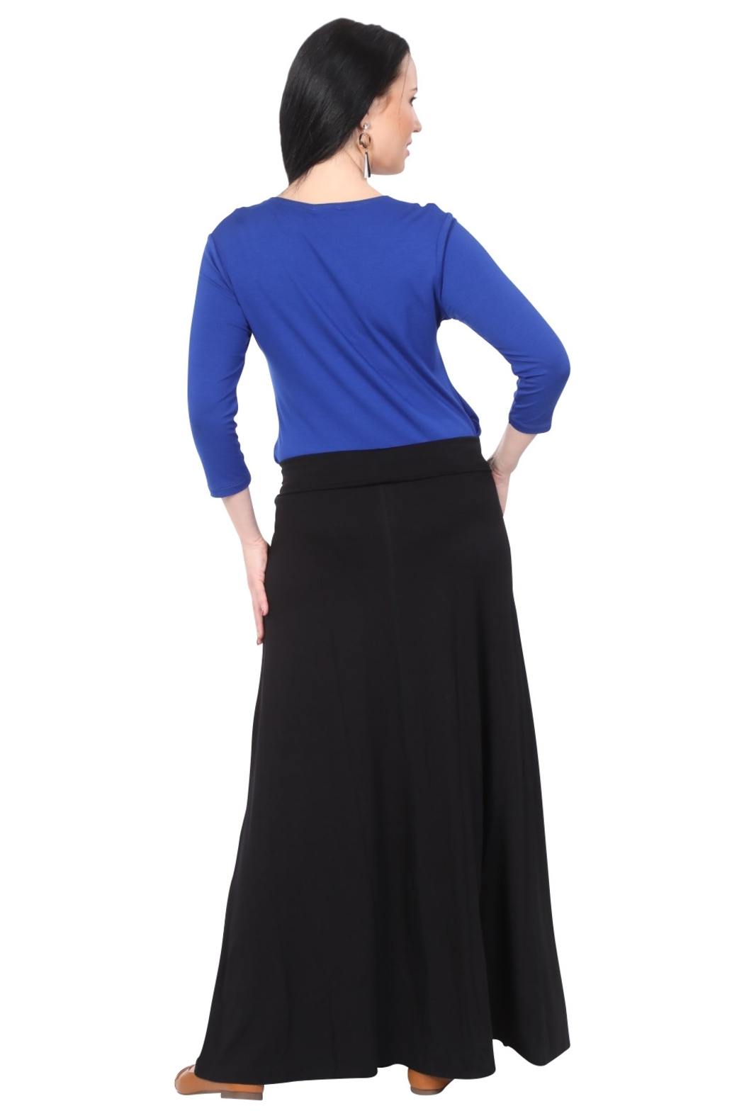 Kosher Casual Maxi Skirt for Women Flowing A-line - Side Cropped Image