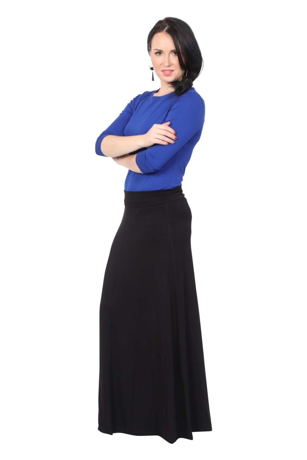 Kosher Casual Maxi Skirt for Women Flowing A-line - Front Full Image