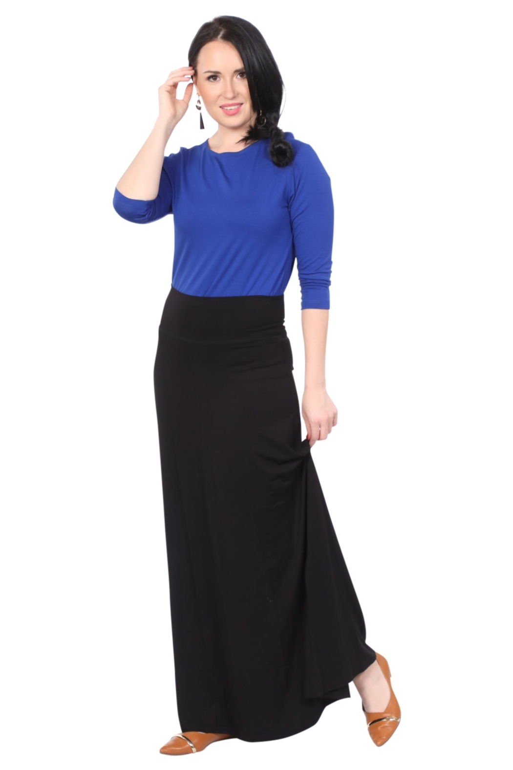 Kosher Casual Maxi Skirt for Women Flowing A-line - Main Image