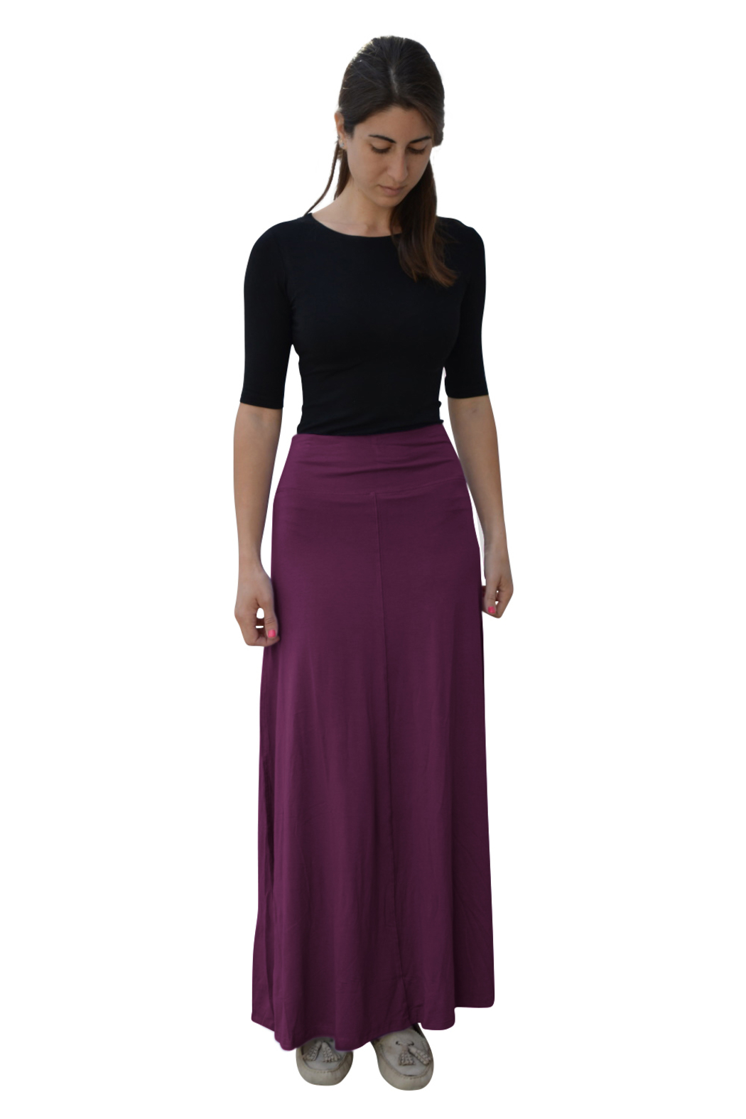 Kosher Casual Maxi Skirt for Women Flowing A-line - Front Cropped Image
