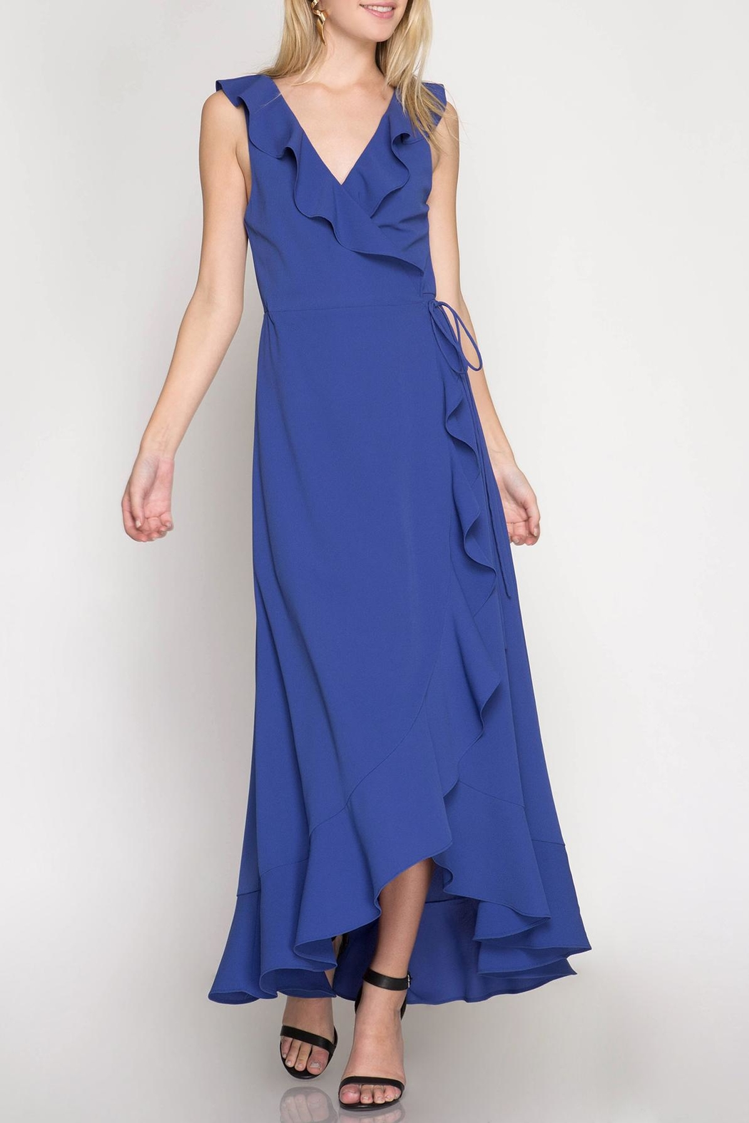 She + Sky Maxi Wrap Dress - Front Cropped Image