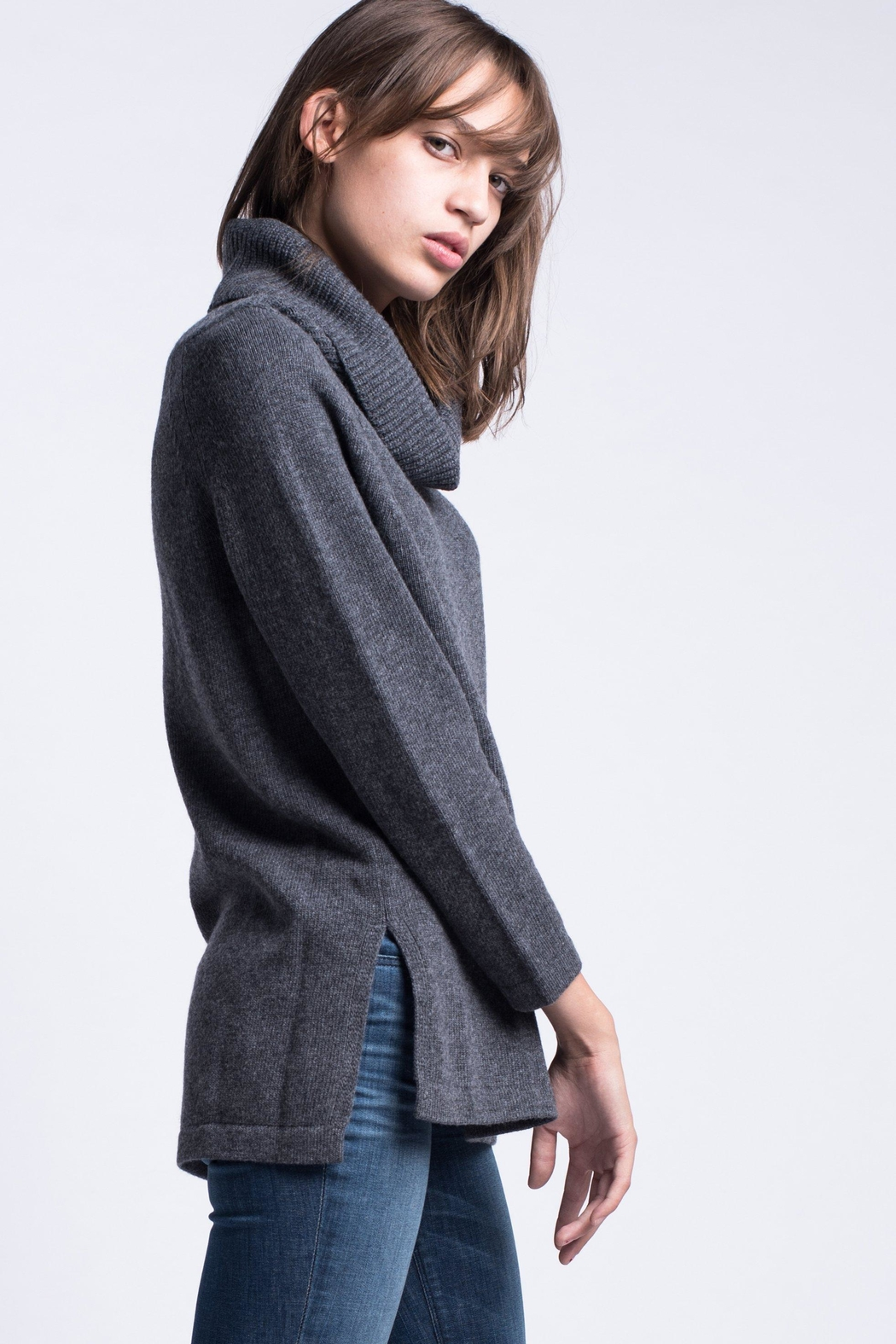 Max Mara Cowl Neck Sweater Grey - Side Cropped Image