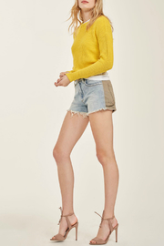 Blue Revival Maxwell Contrasting Denim & Khaki Shorts - Front cropped