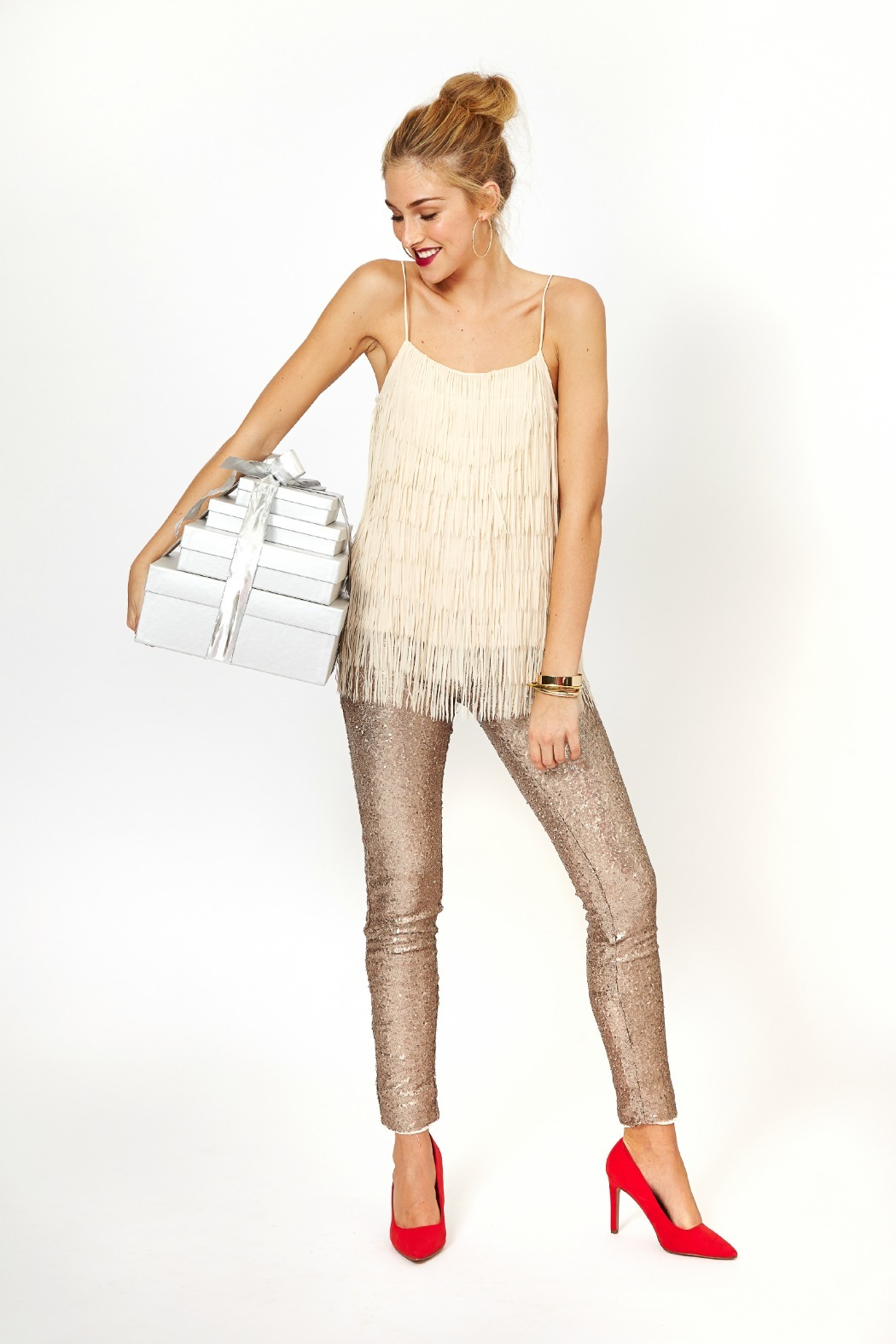 May july champagne sequin legging from kansas by apricot for Champagne seguin