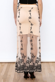 may & july Embroidered Cream Maxi Skirt - Back cropped