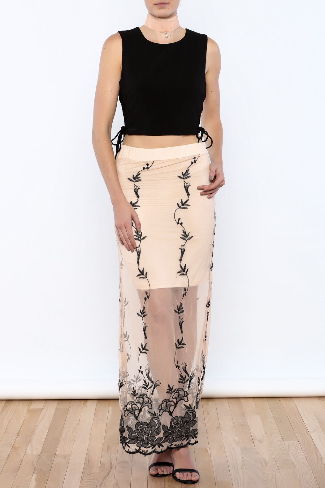may & july Embroidered Cream Maxi Skirt - Front Full Image