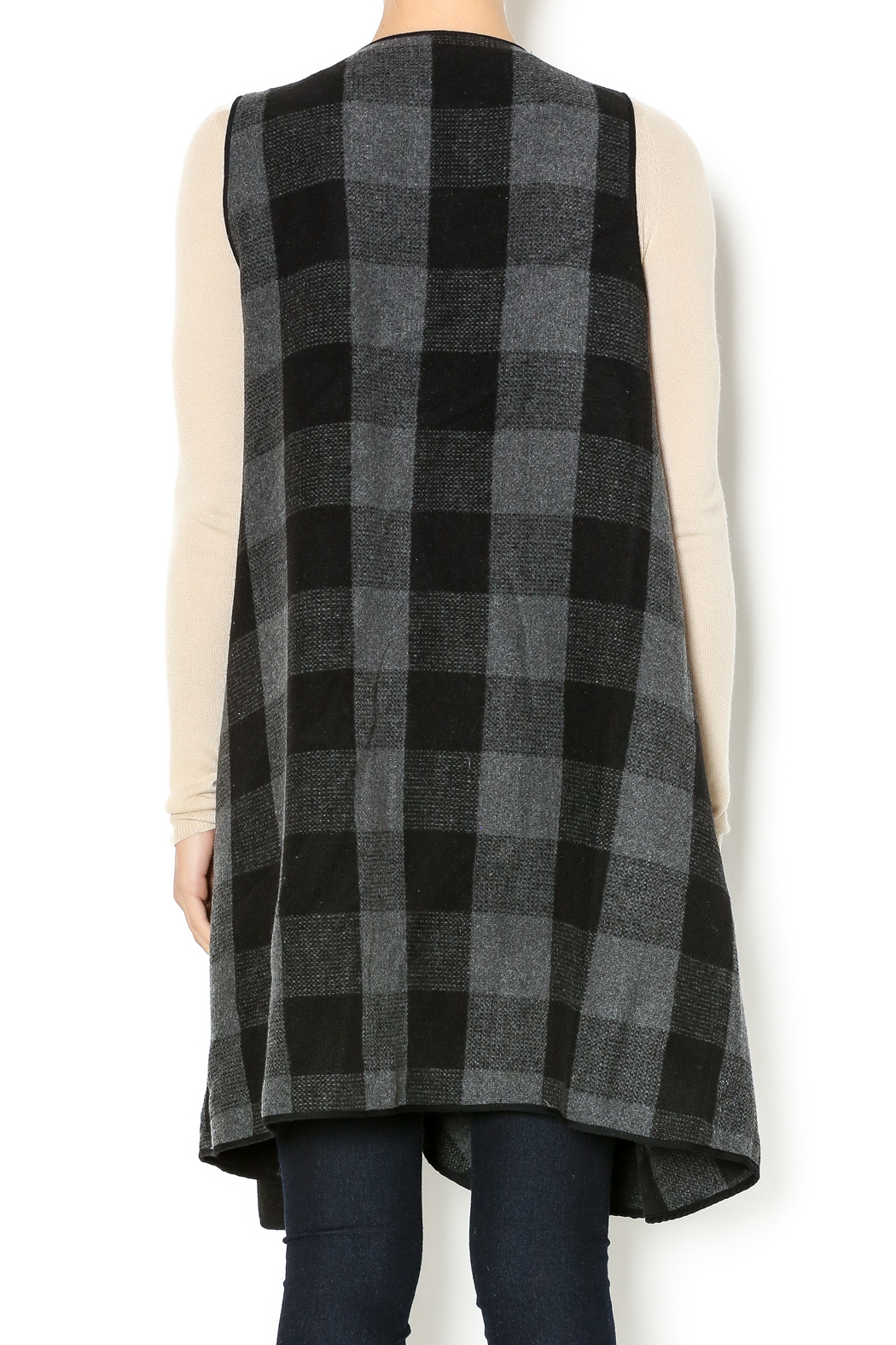 may and july inc Plaid Sweater Cardigan - Back Cropped Image