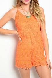 may & july Orange Lace Romper - Product Mini Image