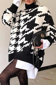 May Blue Houndstooth Knit Sweater - Product List Image