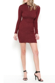 May Pink Mock-Neck Sweater Dress - Front cropped
