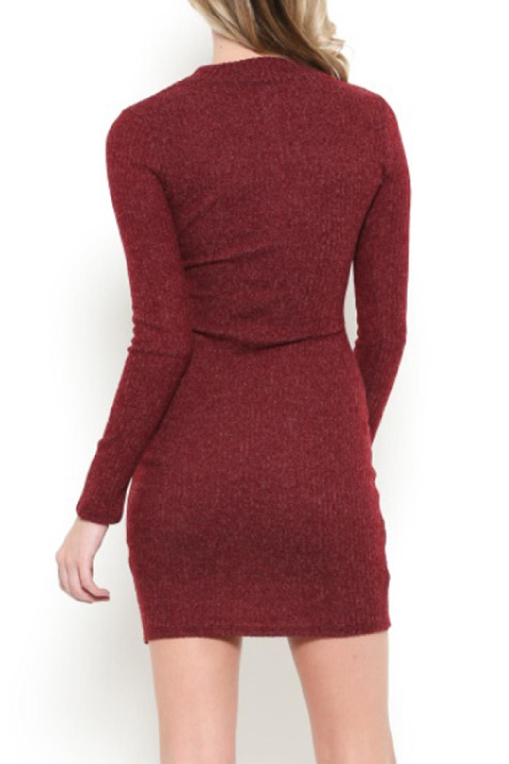 May Pink Mock-Neck Sweater Dress - Side Cropped Image