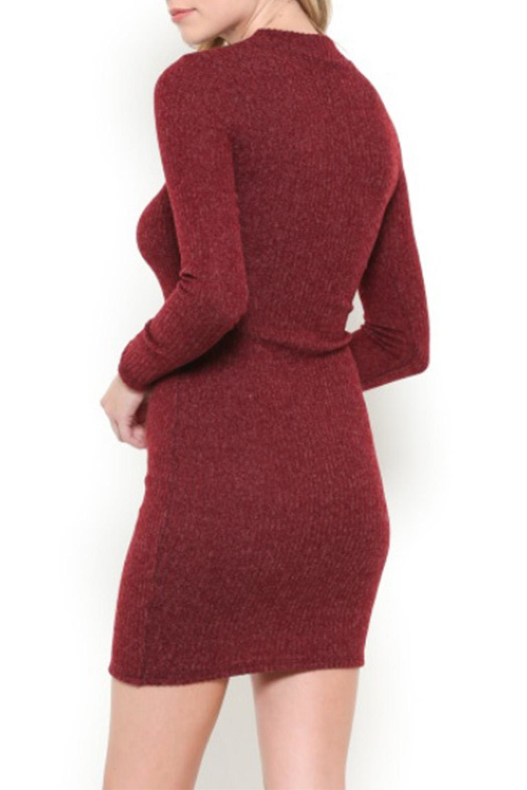 May Pink Mock-Neck Sweater Dress - Front Full Image