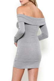 May Pink Off-Shoulder Knit Dress - Front full body