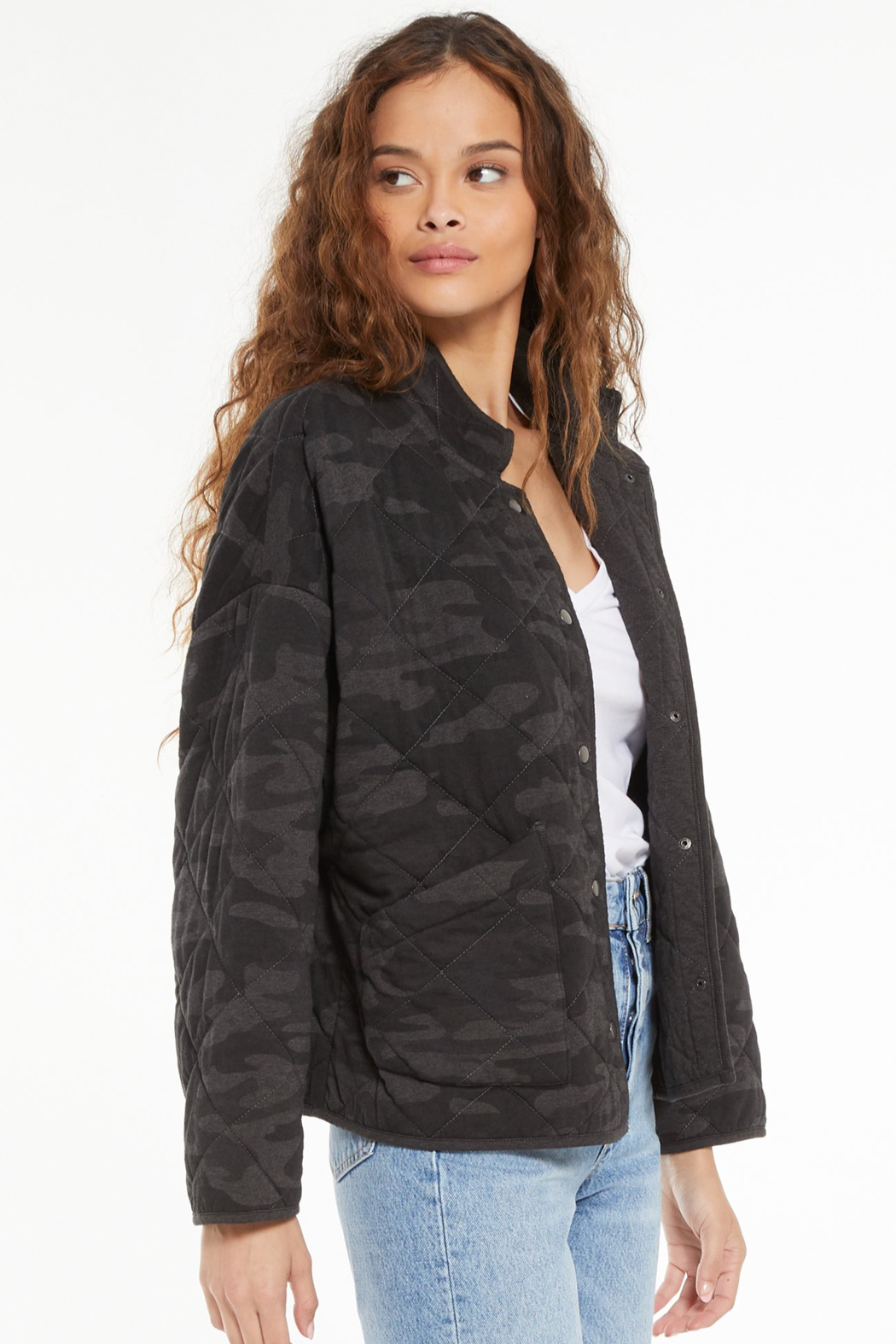 z supply Maya Camo Quilted Jacket - Side Cropped Image