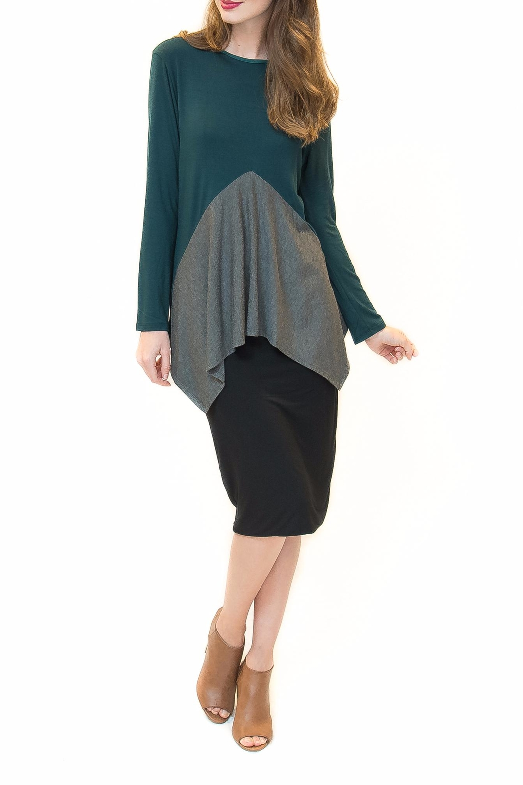 Maya's Place Asymmetrical Combo Color Top - Front Cropped Image
