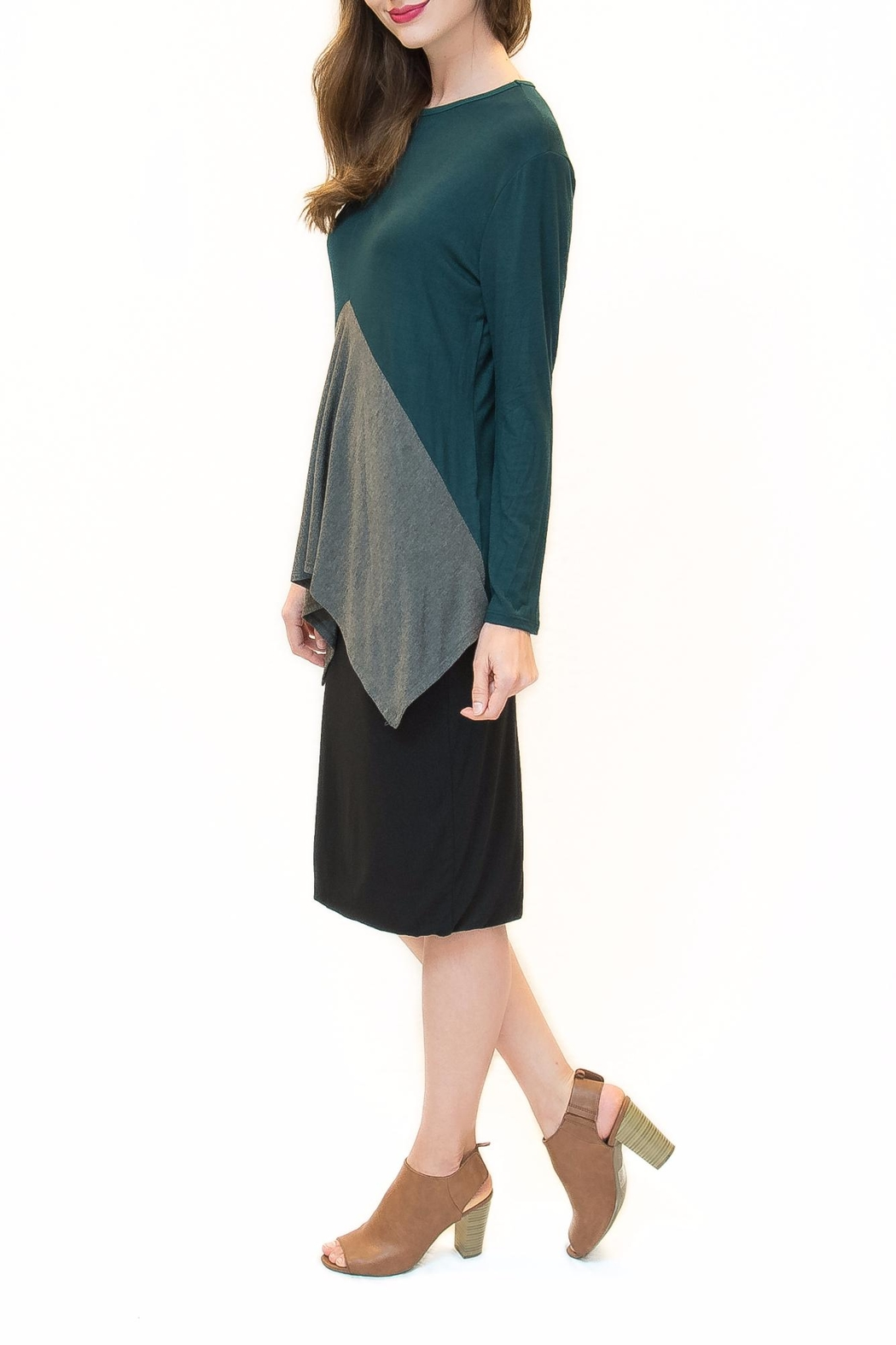 Maya's Place Asymmetrical Combo Color Top - Front Full Image
