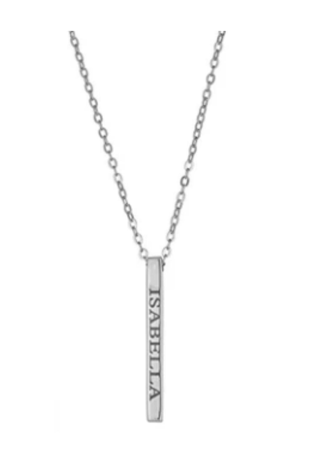 Maya J Vertical Bar Name Necklace - Front Cropped Image