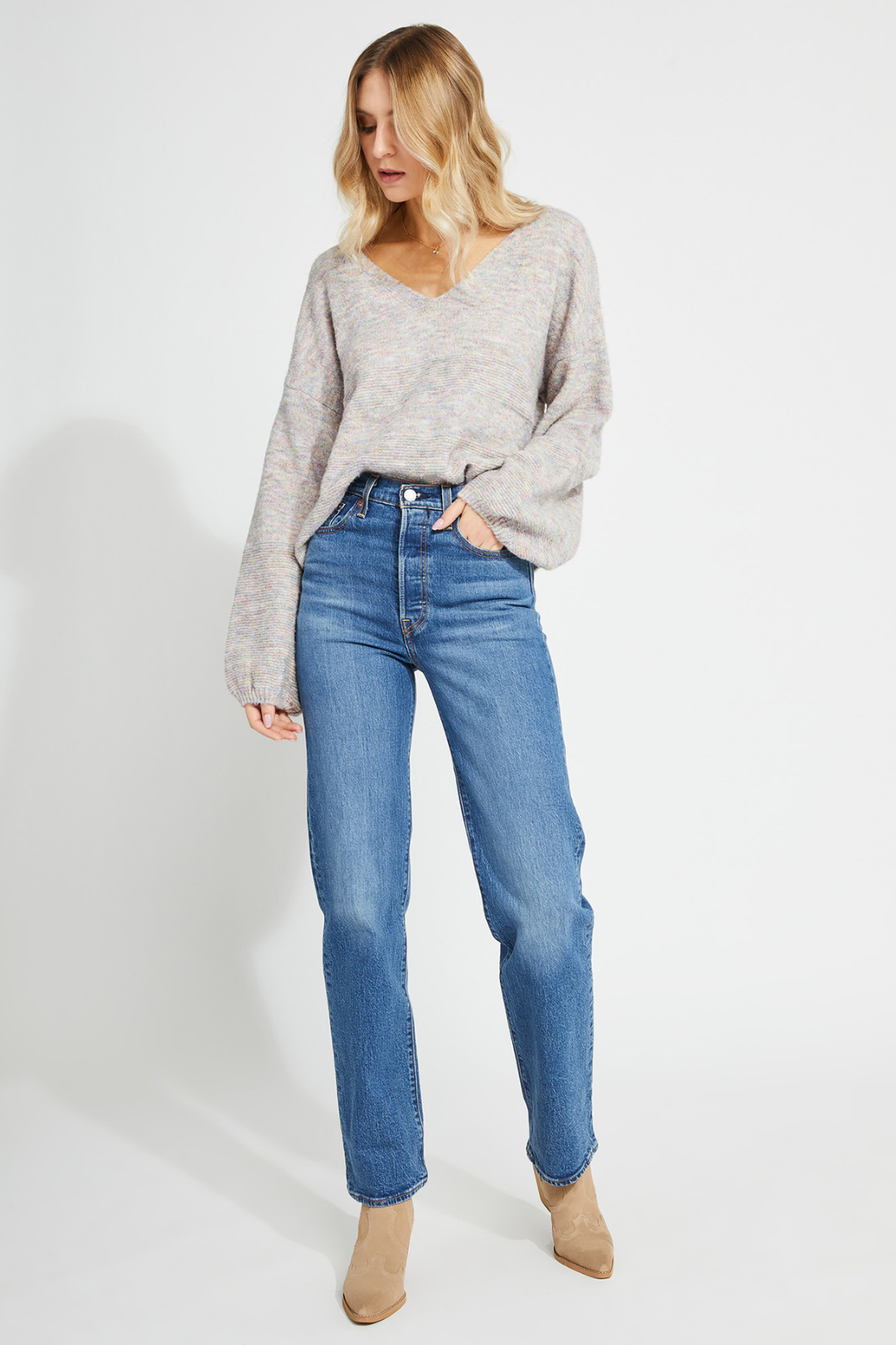 Gentle Fawn Mayer balloon sleeve sweater - Side Cropped Image