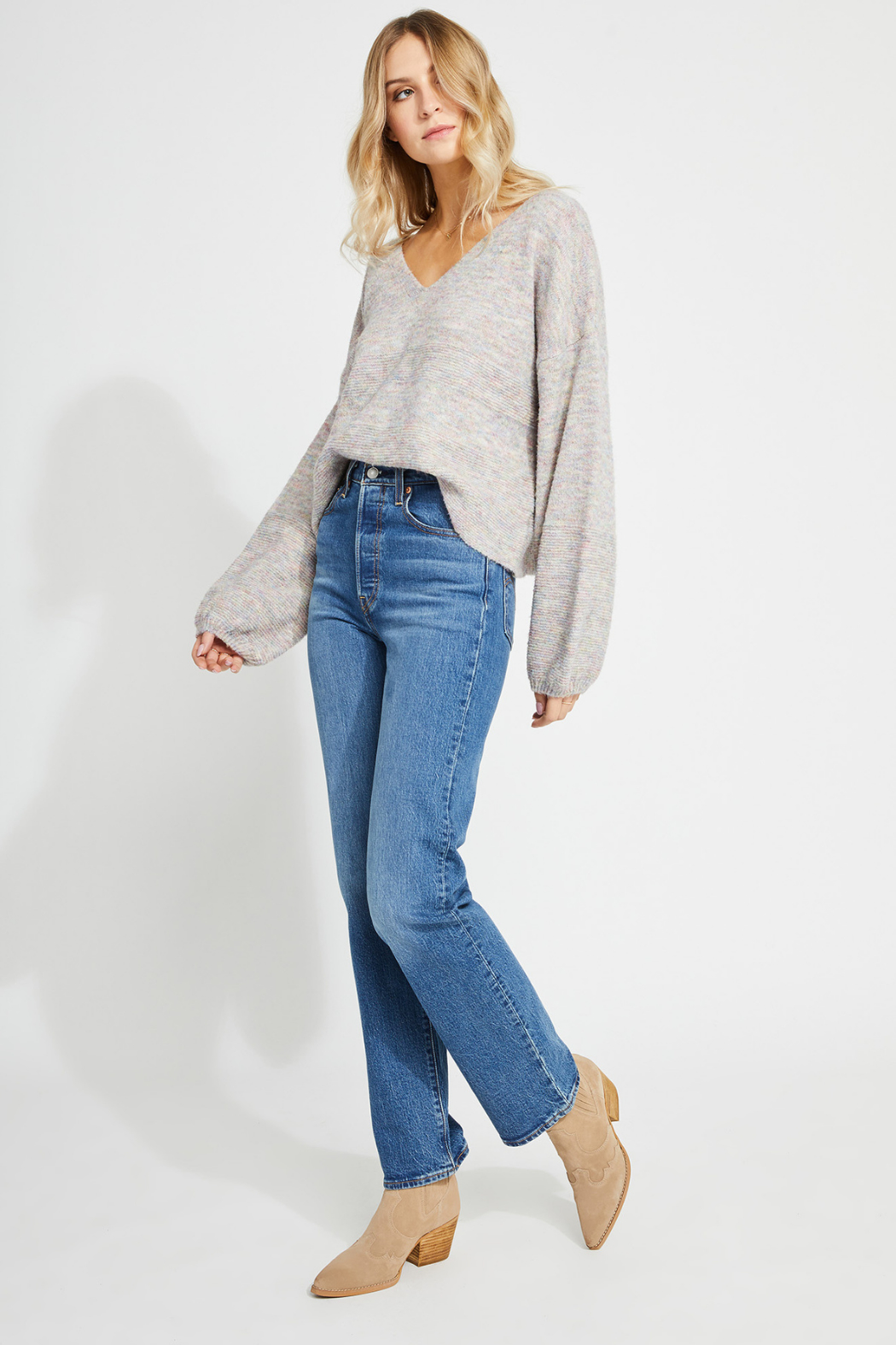 Gentle Fawn Mayer balloon sleeve sweater - Back Cropped Image