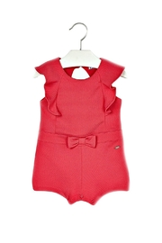 Mayoral All-In-One Retro-Style Fuschia-Knit-Romper - Front cropped