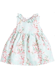 Mayoral Aqua Linen Floral-Dress - Front cropped