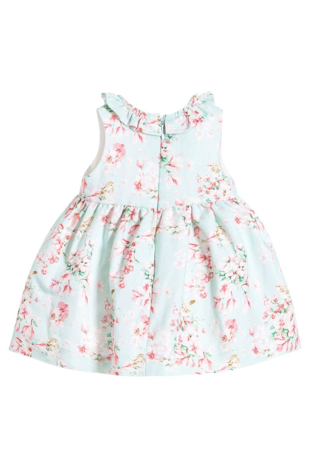 Mayoral Aqua Linen Floral-Dress - Front Full Image