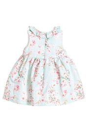 Mayoral Aqua Linen Floral-Dress - Front full body
