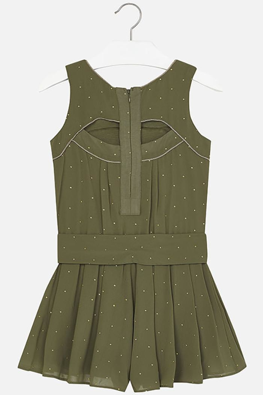 Mayoral Army-Green Crêpe Romper - Back Cropped Image