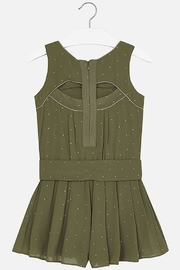 Mayoral Army-Green Crêpe Romper - Back cropped