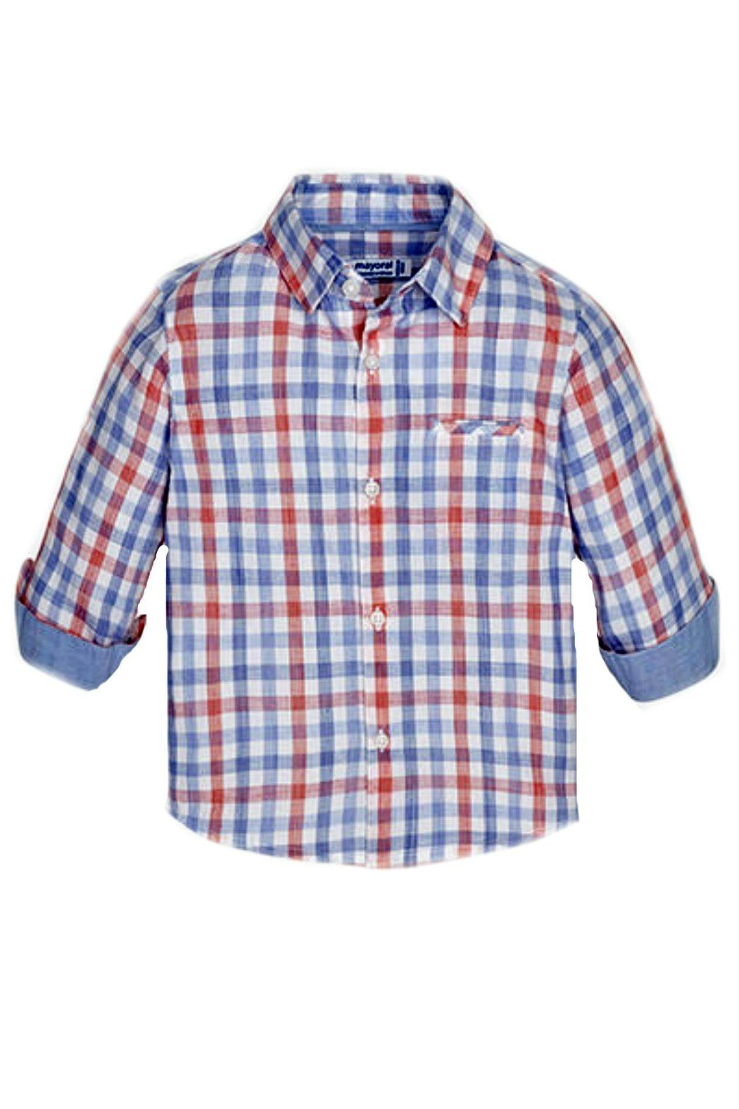 Mayoral Baby-Boy Long-Sleeve-Checked Shirt - Front Cropped Image