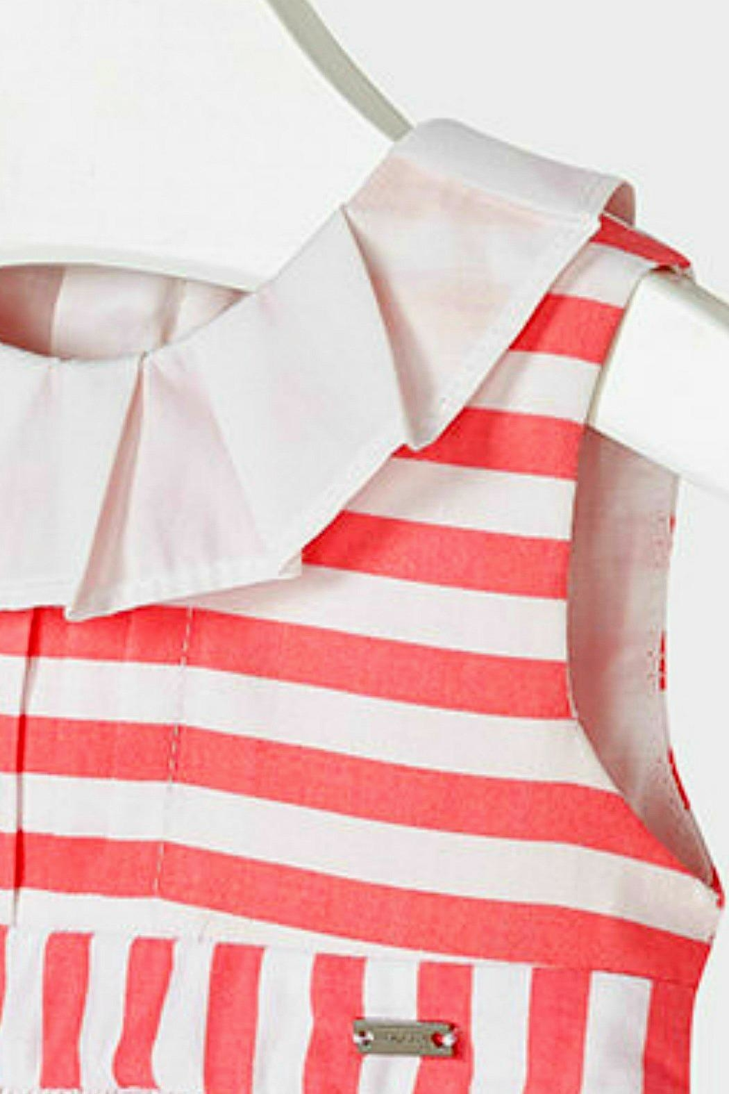 Mayoral Baby-Girl Pink-Coral-Striped-Sateen Dress - Front Full Image