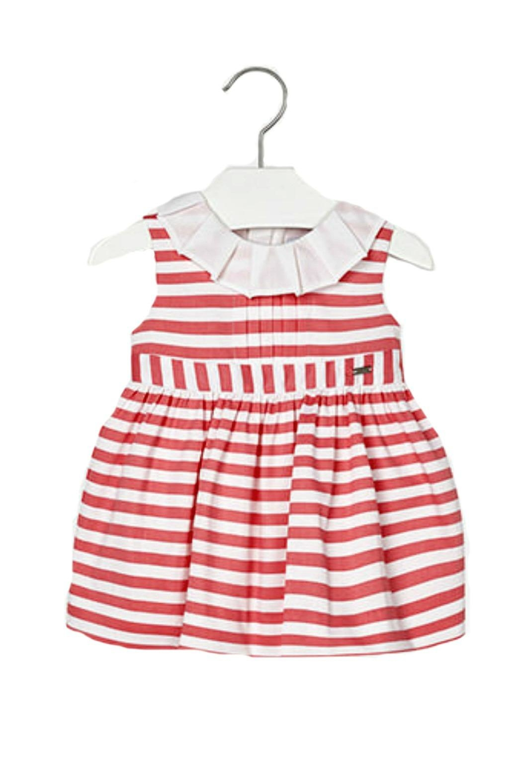 Mayoral Baby-Girl Pink-Coral-Striped-Sateen Dress - Main Image