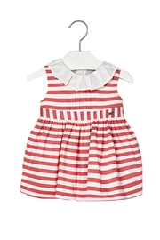 Mayoral Baby-Girl Pink-Coral-Striped-Sateen Dress - Product Mini Image