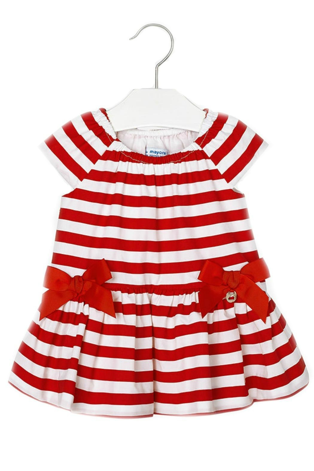 Mayoral Baby-Girl Red-White-Stripe-Poplin Dress - Front Cropped Image
