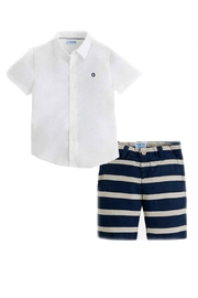 Mayoral Boys Linen-Shirt-Short Set - Front cropped