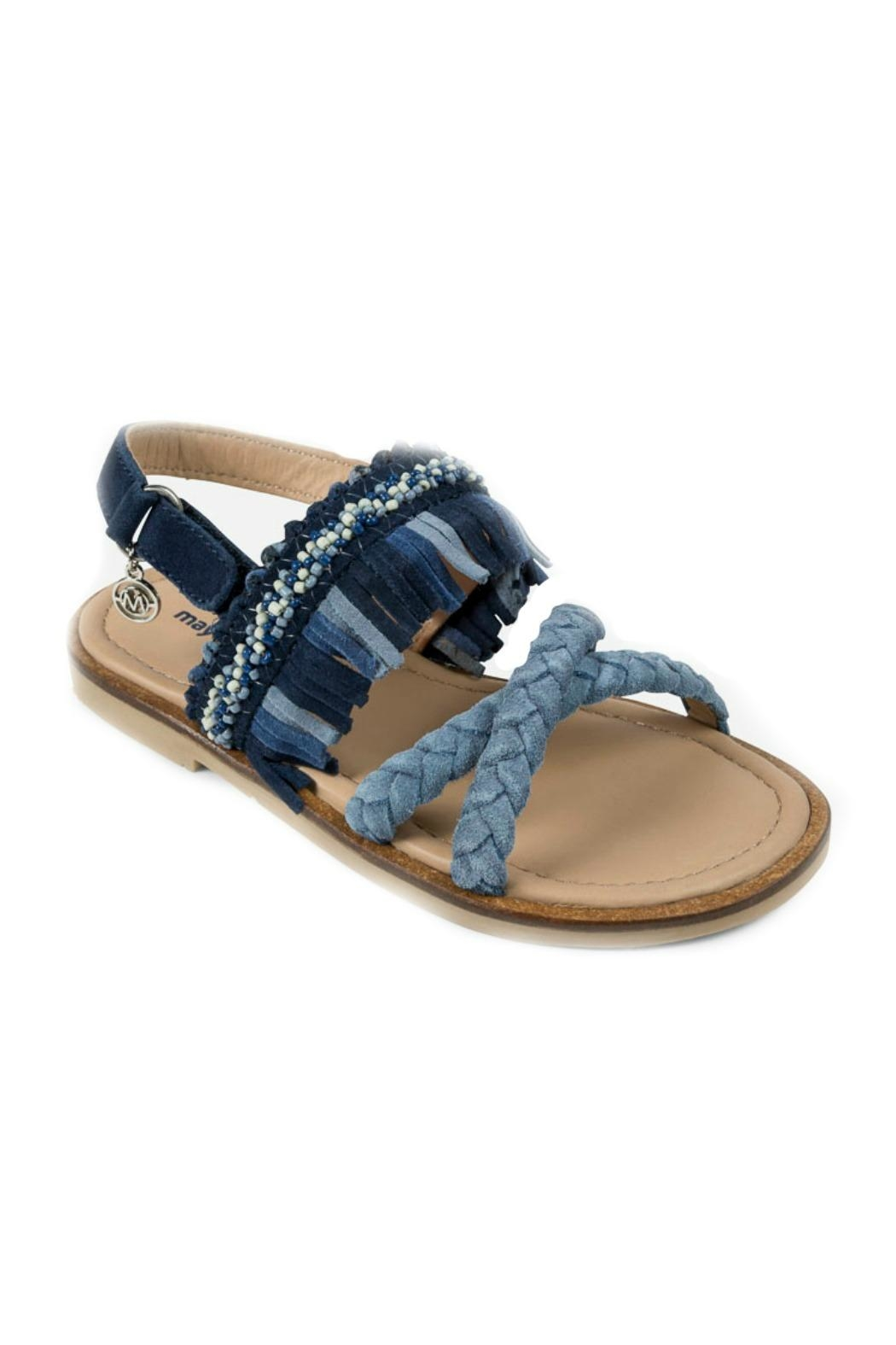 Mayoral Braided Leather-Fringed Sandals - Front Full Image