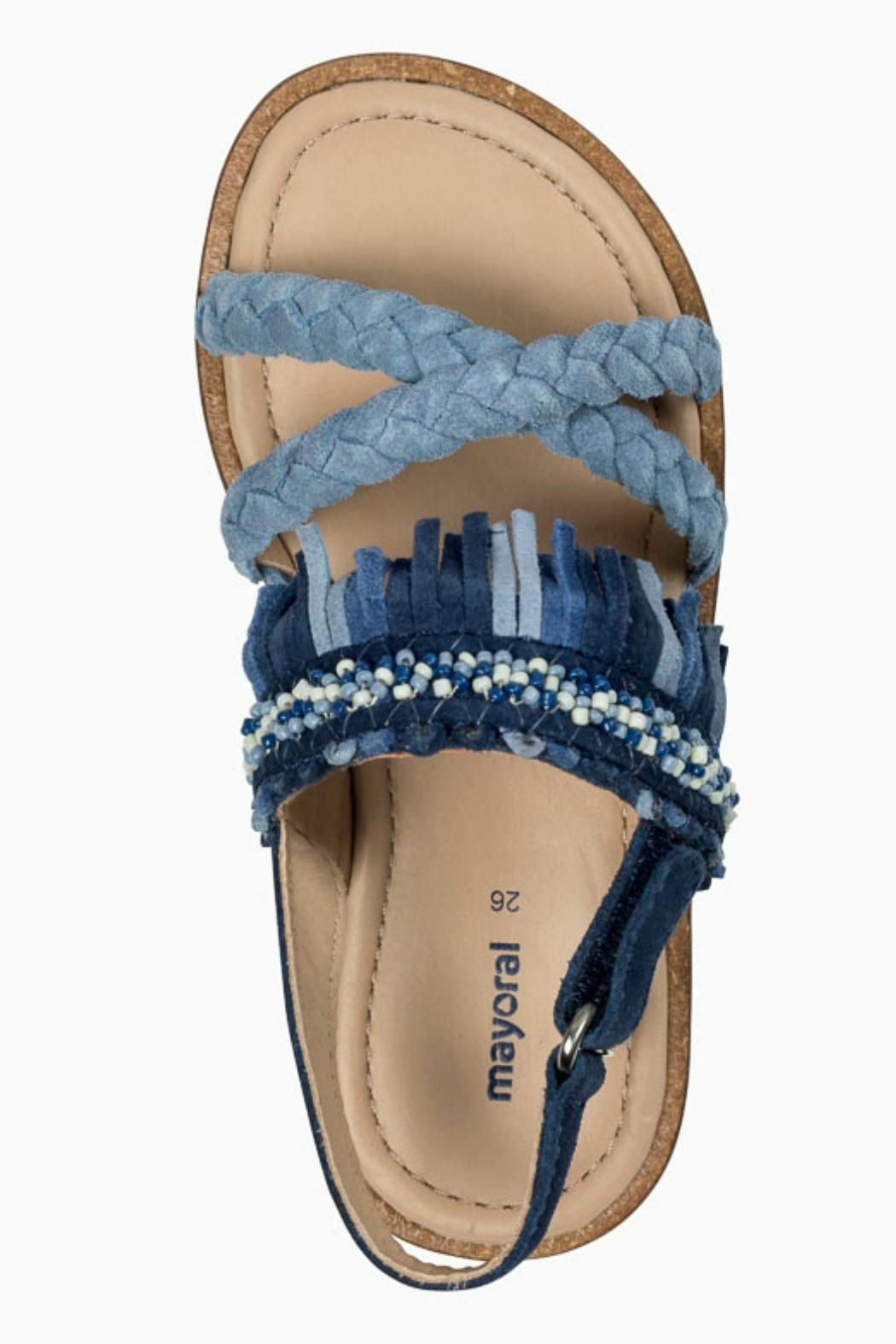 Mayoral Braided Leather-Fringed Sandals - Side Cropped Image