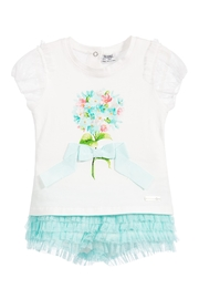 Mayoral Floral-Top & Tulle-Shorts Set - Front cropped