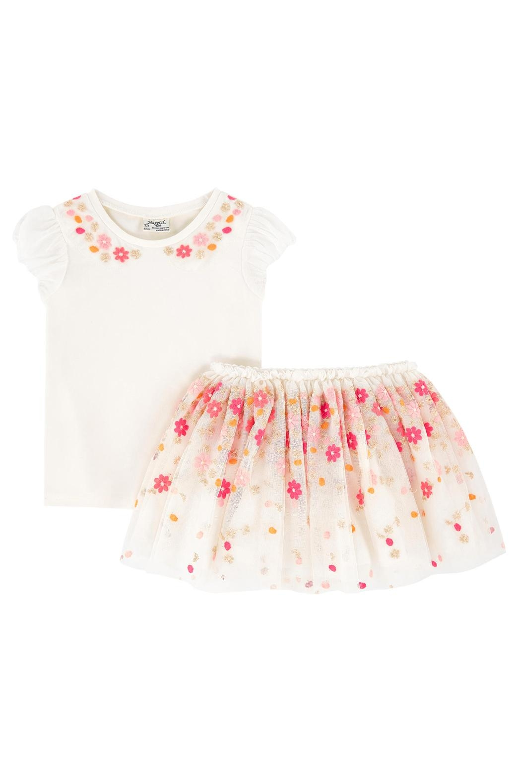 Mayoral Flower-Top & Tulle-Skirt Set - Side Cropped Image